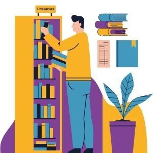 illustration of a person browsing shelves of books